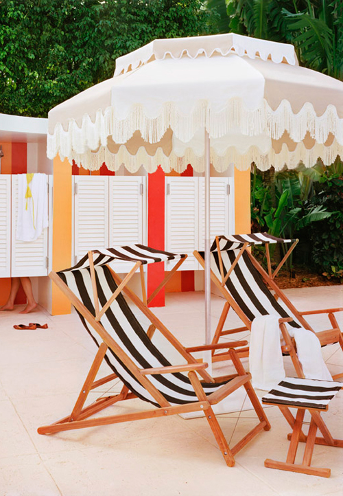 Striped Lounge Chairs and Changing Areas